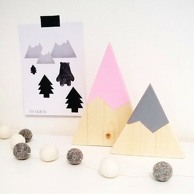 Fashion Wooden Mountain Children's Girls Boys Room Decoration Blocks Crafts