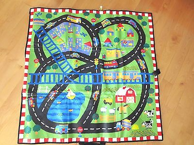 "Alex Little Hands Play Mat  City Farm Roads  36"" Sq    Heavy Vinyl  Lot A7"