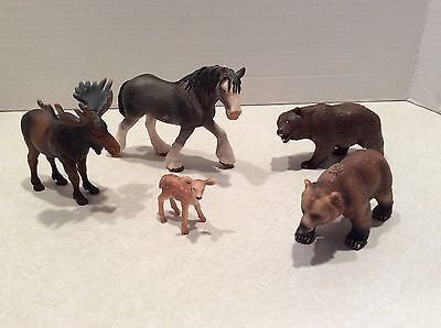Lot Schleich Germany animals (5)-moose, horse, bears, deer