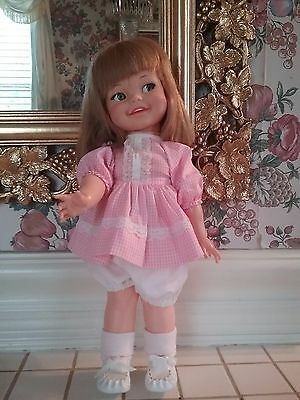 """Ideal Doll Giggles Vintage 1966 Eyes Move Excellent Condition 19"""""""