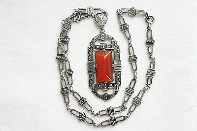Rare EDWARDIAN Vintage STERLING Silver CARNELIAN & Steel Marcasite NECKLACE