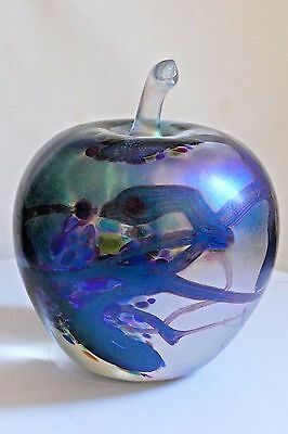 John Ditchfield Glasform Iridescent Blue Apple ~ Glasform Label & Signed ~ Large