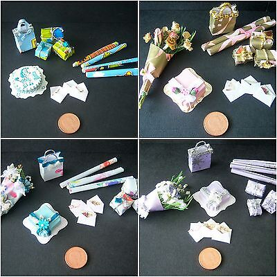 Handmade Miniature 1/12th scale BIRTHDAY GIFT SETS. Various
