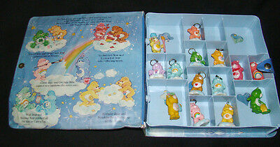 Lot of 14 - Care Bear KEY RINGS and PVC Figures with Vintage Divided CASE