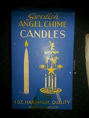 Vtg Swedish Christmas Angel Chime Carousel Candle  Sweden w/Orig box and candles