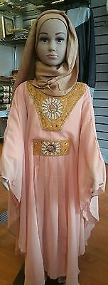 Reduced!!! Kids Islamic Dubai Farasha Abaya in peach, sizes 28 up to 50