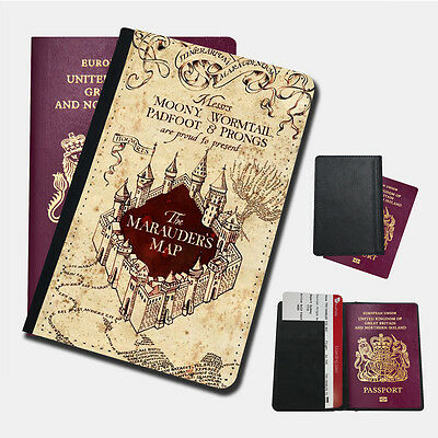 HARRY POTTER MARAUDERS MAP Passport Holder Travel  Protection Flip Cover Case
