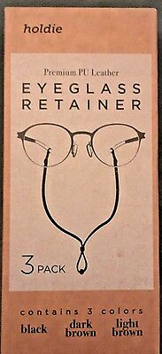Eyeglass Holder - Classic PU Leather Design Pack of 3 - Universal Connection