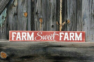RUSTIC Primitive Wood Sign Farm Sweet Farm COUNTRY Farmhouse Kitchen Distressed