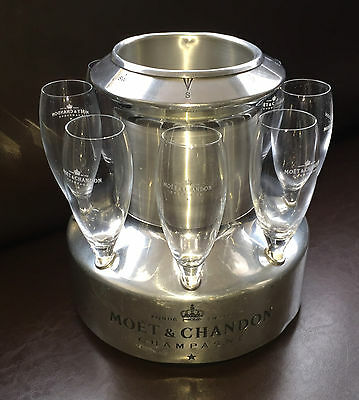 Moet & Chandon Champagne Winch Cooler Bucket Americas Cup Rare Item +8 Flutes