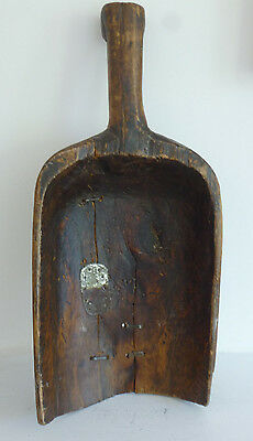 A lovely French vintage grain scoop wooden spoon antique folk rustic art