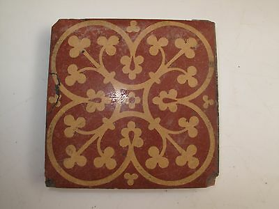 Antique Minton Encaustic Ceramic Tile Red Gold Stoke On Trent Quatrefoil 1860S A
