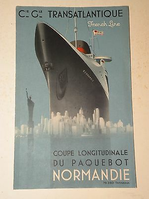 Superbe Coupe Longitudinale Du Paquebot Normandie French Line Cgt Wilquin