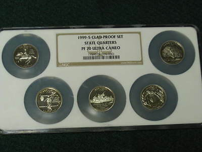 1999-S 25C State Quarters - Clad 5 Coin Multi Set NGC PF 70