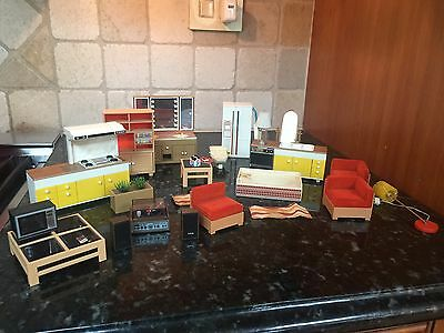 Vintage Tomy Smaller Homes Mid Century Dollhouse Furniture Lot 26 Pieces Pepsi