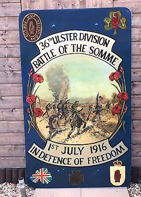 Large Vintage 5ft x 3ft 36th Ulster Division, UVF Painted Plaque, Wall Hanging