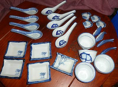 Lot/26 Pc CHINESE TABLEWARE Soup Spoons Chopstick Rests, Tea Cups & Sauce Dishes