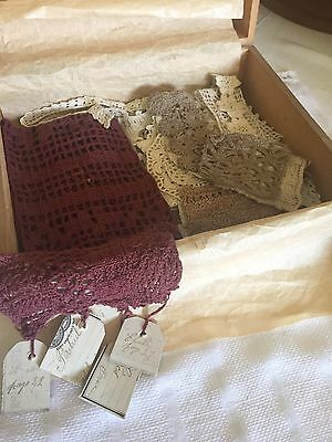 Antique Lace Samplers Collection Wooden Cask Box