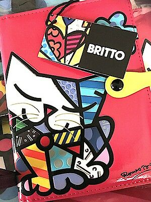 NEW Romero BRITTO GifT Craft Pink Cat FUCHSIA Passport Case Cover Holder
