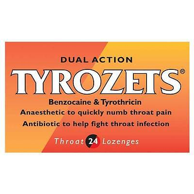 *** TYROZETS LOZENGES - 3 PACKS OF 24 - Dual Action: soothe sore throats, fight