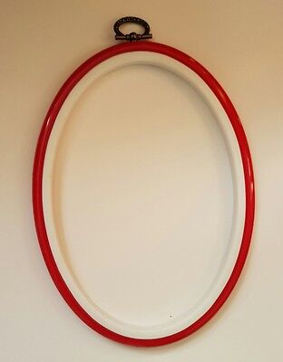 "Oval Hoop Or Frame For Cross Stitch Embroidery 4.5"" x 6.5"" *RED*"