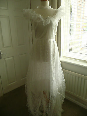 Vintage White 70's Wedding Hen night Costume Party Theatre Fancy Dress 12
