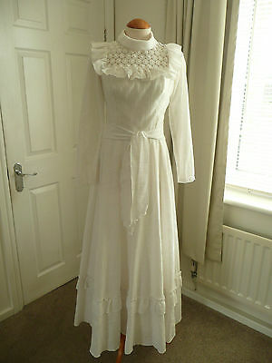 Vintage 70's Off White Wedding Hen Night Party Theatre Fancy Dress states UK 8