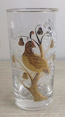Libbey Partridge in a Pear Tree Drinking Glass Vintage Gold Tone Bird Glass