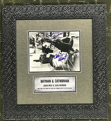 Adam West & Julie Newmar Batman & Cat Woman  Signed Autographed Custom Framed