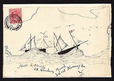 1904 FRONT of cover hand drawn Ships Sail at Sea South to West Kensington Piece