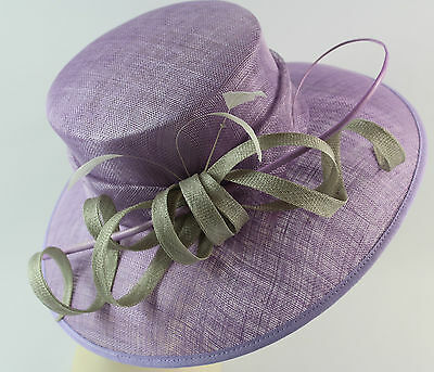 ladies formal sinamay silver/lilac hat wedding races