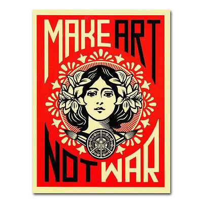 MAKE ART NO WAR Vintage Silk Poster Wall Art Canvas Print 13X18 24X32 inch