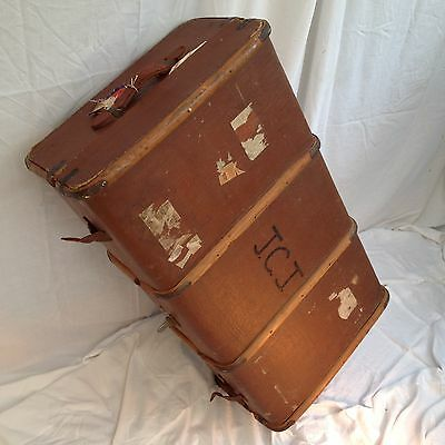 Antique Vintage Travel Trunk,car bentwood Old Steamer/coffee Table Storage.