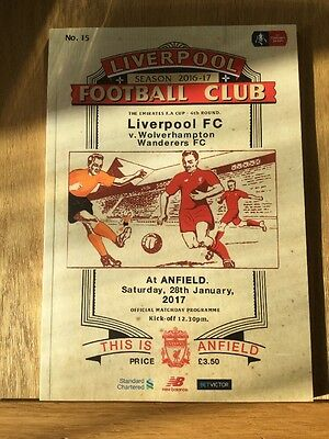 Official Liverpool FC Match Day Program LFC V Wolverhampton  FA Cup