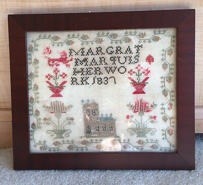 1837 Antique Sampler Americana Primitive Margrat Marquis Her Work