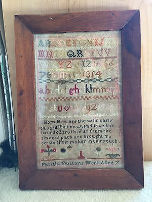 Antique Sampler Martha Duttons Work Aged 7