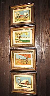 "4  Framed Completed  Needlepoint "" Four Seasons ""  11""1/2  X  9"" 1/2"