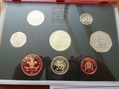 1995 Royal Mint Proof Coin Set In The Red Leather Deluxe Case With Leaflet/box