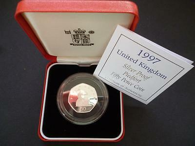 1997 Royal Mint Silver Proof Piedfort (Double Thickness) 50P Cased With C.o.a.