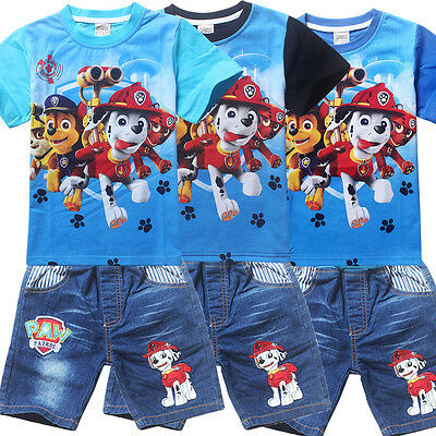 Paw Patrol Cartoon Figure kids Casual T Shirt + Short Jeans Tops Pants Outfits