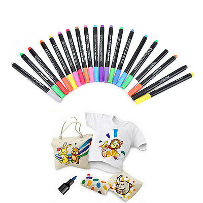 T-Shirt Permanent Fabric Paint Marker Pen Textile Clothes Shoes DIY 20 Colors GT