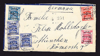 1925 part registered cover FRONT only displaying EEF Palestine stamps to Germany