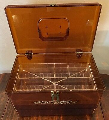 Vintage Amber & gold Plastic Sewing Box with clear plastic insert tray Wil-Hold!