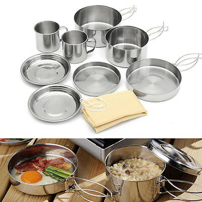 8pcs Outdoor Camping Hiking Cookware Non-stick Picnic Cooking Bowl Pot Pan Set
