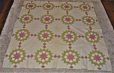 Antique 8 Triple Point star Quilt Red/Green/White Oatmeal Triangles &Squares