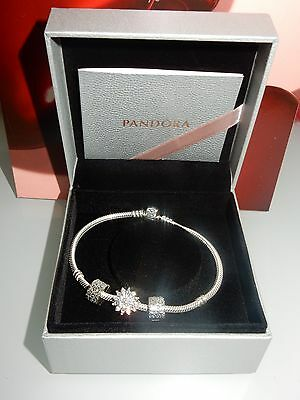 Authentic Pandora Moments Silver  Bracelet 590702Hv With Pandora Charms.