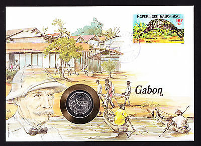 Boats Shore Numisbrief 1985 Gabon Gabonaise Africa African Stamp Cover with Coin