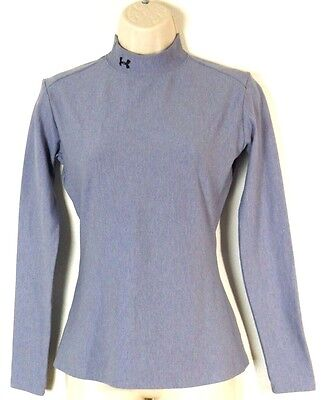 Women's UNDER ARMOUR Turtleneck Gray PULLOVER SHIRT Long Sleeve Compression Sz L