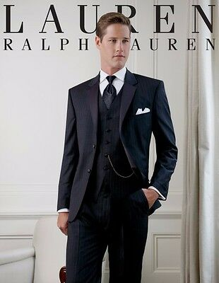 Ralph Lauren Yale 40S Tuxedo Charcoal Pinstriped With Vest Slim Wool Size 40Sht