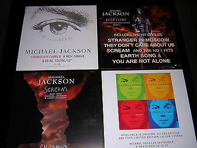 4 Michael Jackson Promotional 12X12 Cards - History, Invincible +2